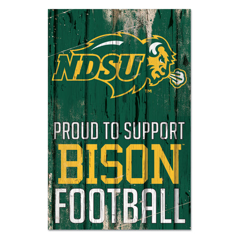 NDSU Bison Proud To Support Wood Sign