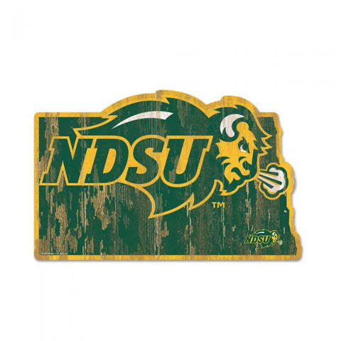 NDSU Bison State Shape Wood Sign