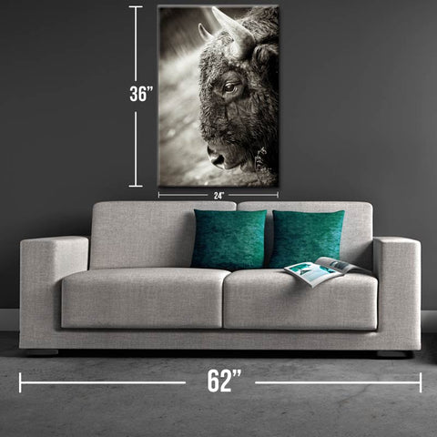 Horns Up Magnificent Bison Canvas Print - One Herd