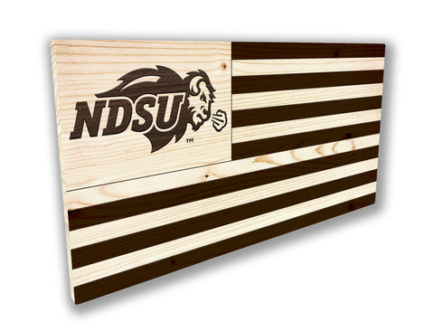 NDSU Bison Laser Etched Wood Flag - Small