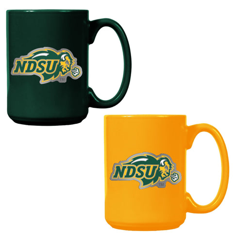 NDSU Bison Team Colored Ceramic Mug Set - One Herd