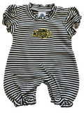 NDSU Bison Green Striped Puff Sleeve Romper - One Herd
