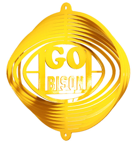 "NDSU Gold ""Go Bison"" Wind Spinner - One Herd"