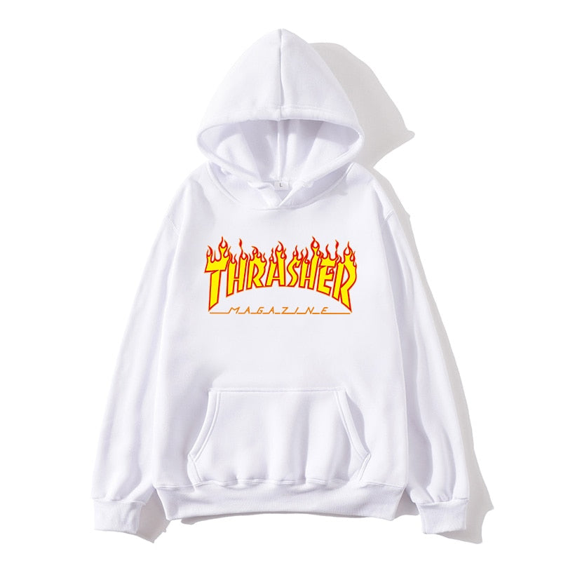 Men's hoodies European and American fall/winter popular pullovers yellow flame print ladies hip-hop hoodies couple sweatshirts