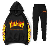 Thrasher Winter Fashion Tracksuit Sets  Flame Printed Men Women's Casual Hoodies Pullover Couple Hoodies Sweatpants Suit