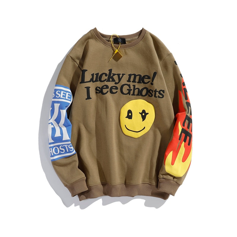 Kanye West Graffiti Letter Print Plus Velvet Sweatshirt Men Harajuku Fleece Hoodie Hip Hop Stranger Things Hoodies