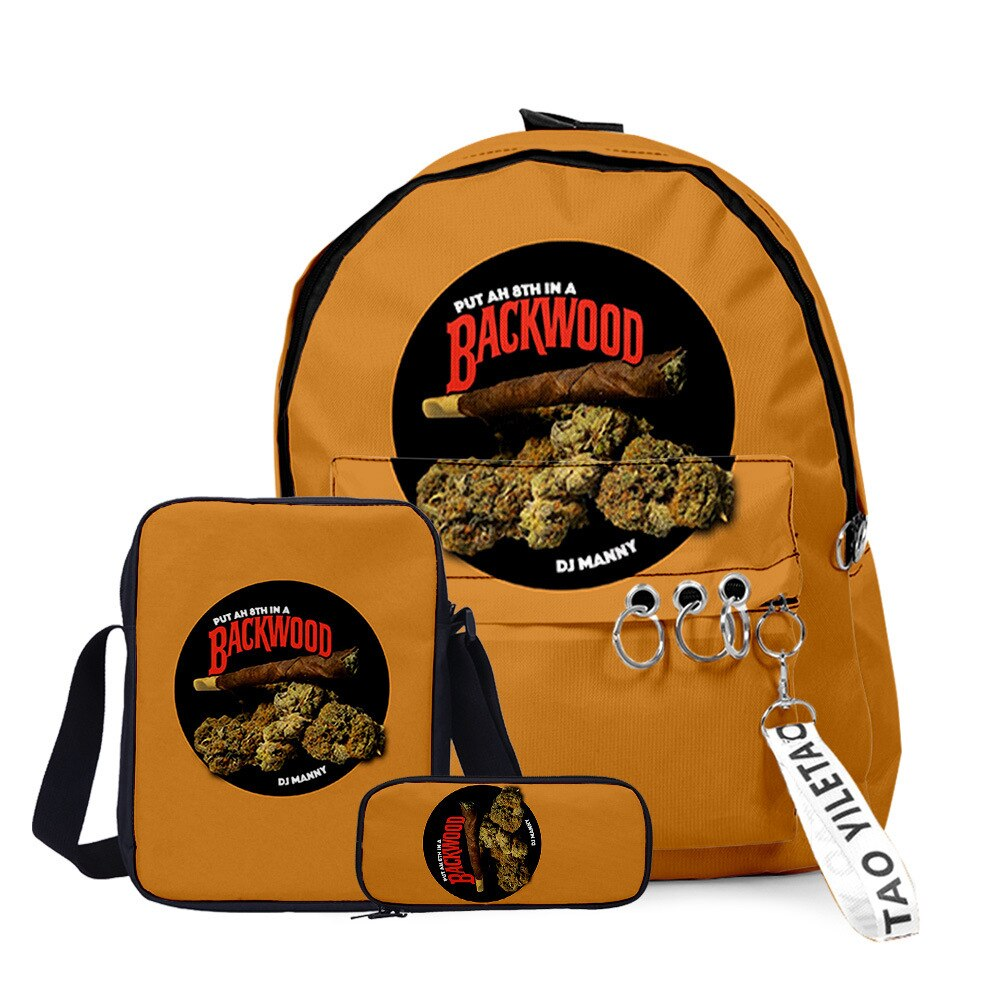 3D Printed Backwoods Backpack 3pcs Set Slash Zipper Backpack3d Printed Backpack School Student Casual  Laptop Bag