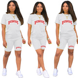 Backwoods Letter T Shirts And Shorts Women Two Piec Set Summer Short Sleeve O-neck Casual 2 Piece Joggers Biker Shorts Outfit For Woman