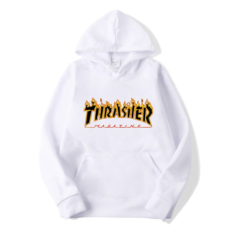 Thrasher Hoodies Fashion Fire Flame Printing Hooded Sweatshirt Men and Women Street Couples Tops