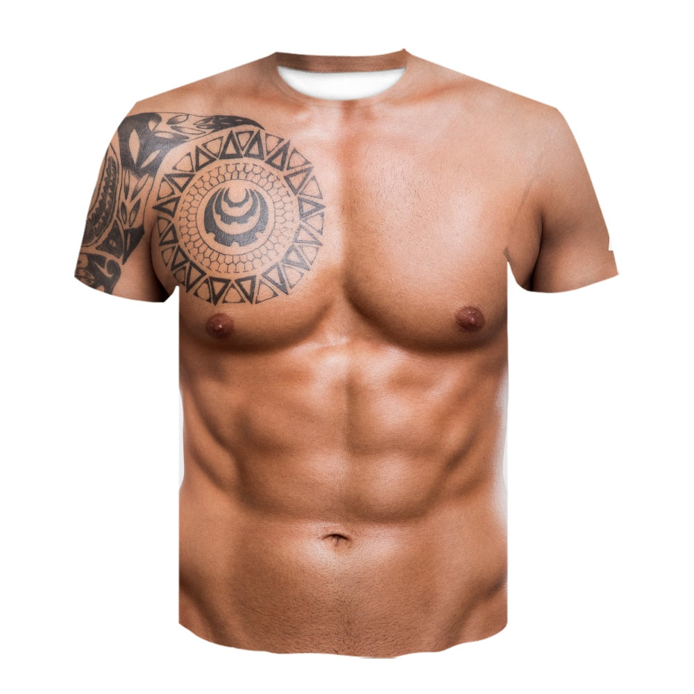 Men Summer Short Sleeve Fitness Tee Cool Streetwear 3D Print Fake Muscle T-shirt
