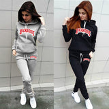 Women Tracksuit Backwoods Letter Hoodies + Pants 2 Piece Set Autumn Winter Casual Sportswear Suit