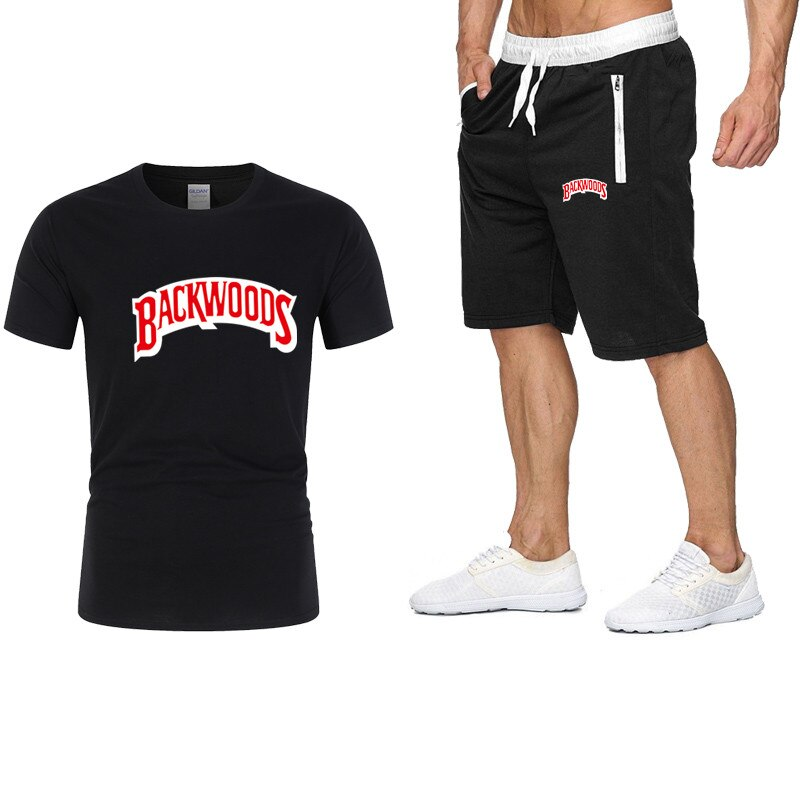 Backwoods Man Sportswear set Fitness summer print men shorts + T-shirt men's suit  Pocket zipper set 2 pieces sets