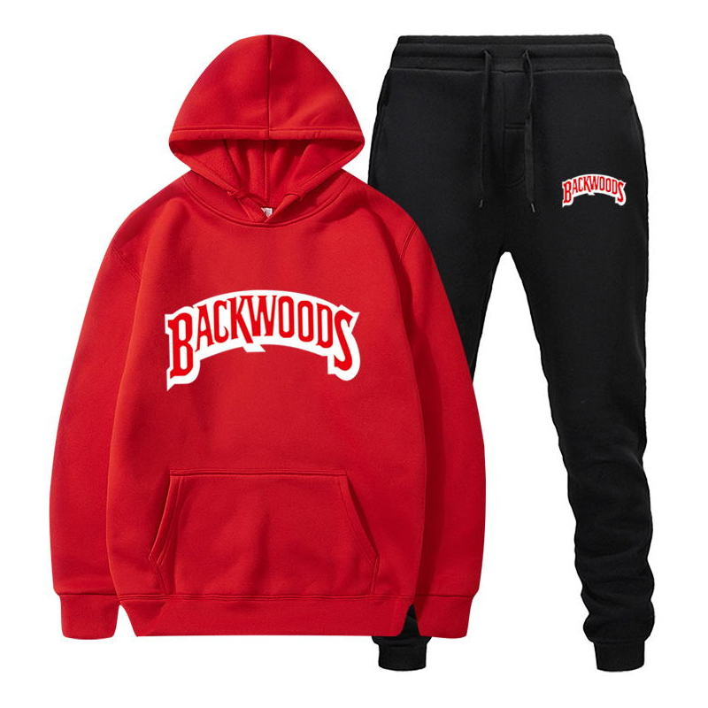 Backwoods Men's Set Fleece Hoodie Pant Thick Warm Tracksuit Sportswear Hooded Track Suits Male Sweatsuit Tracksuit