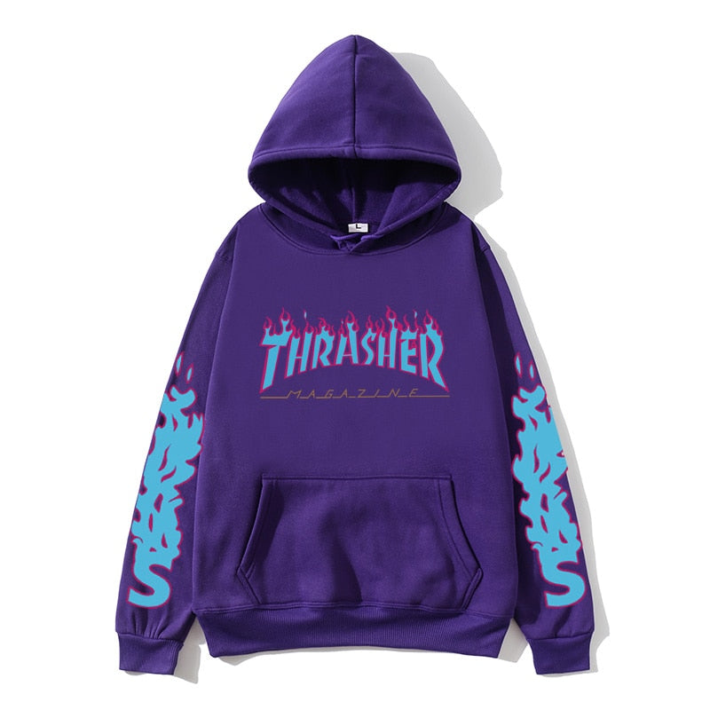 Thrasher blouse blue flame print hoodie men/women street couple casual fashion pullover sweatshirt