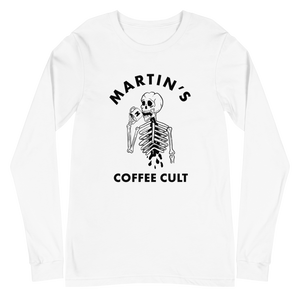Martin's Coffee Cult White Long Sleeve Tee