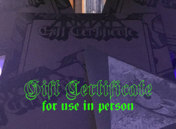Abraxas Gift Certificate (for use in person)