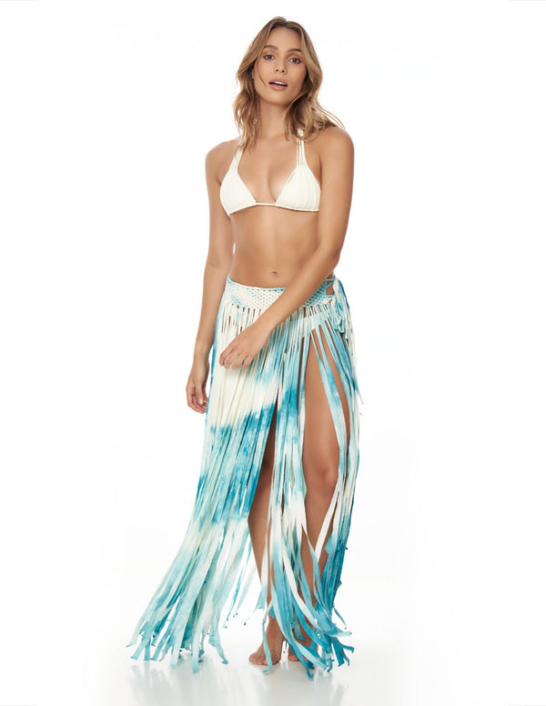 Flow Skirt Emerald Sunset. Hand-Dyed Beach Skirt With Hand Woven Macramé In Emerald Sunset. Entreaguas
