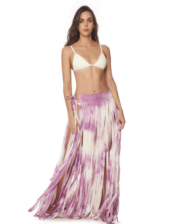 Flow Skirt Morning Purple. Hand-Dyed Beach Skirt With Hand Woven Macramé In Morning Purple. Entreaguas