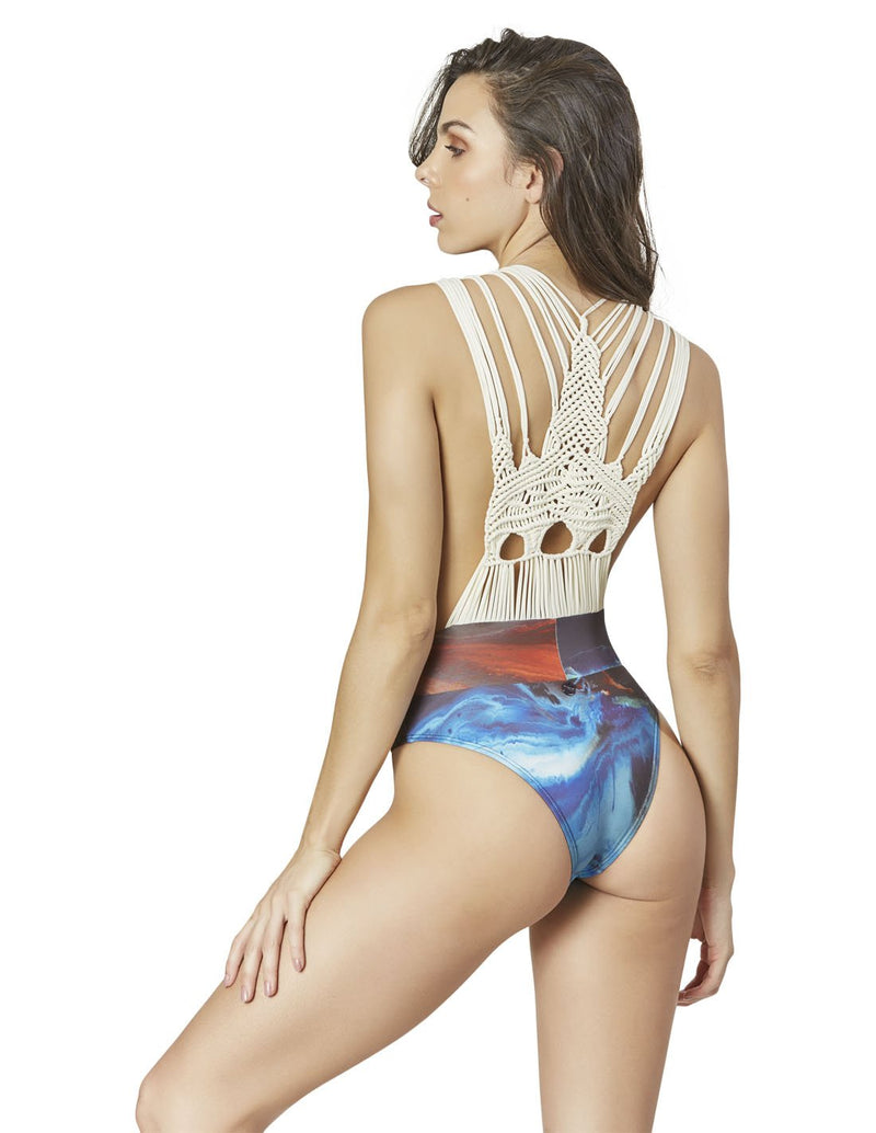 plunge one piece swimsuit with macrame in bali pink beach pura luhur batukaru cso016333 3