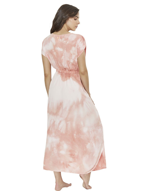 long dress in spotted coral blush polyporus 2