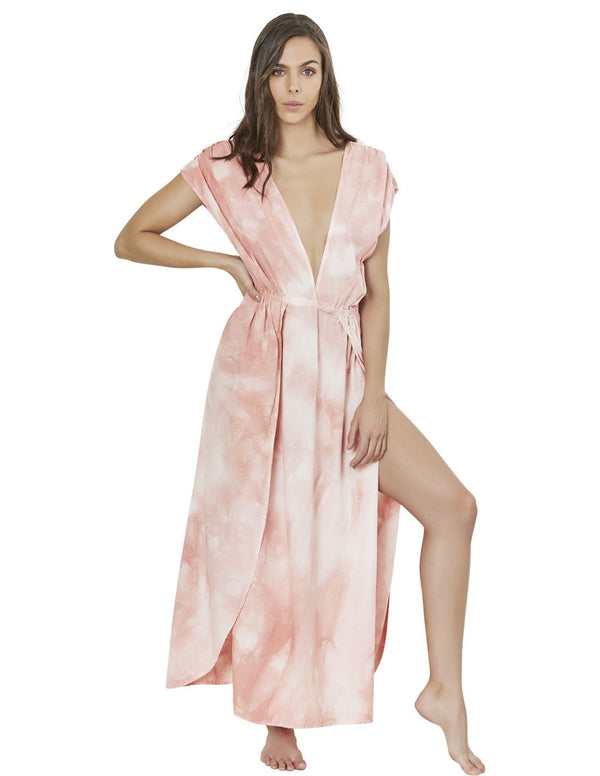 long dress in spotted coral blush polyporus 1