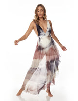 Cloud Dress Storm. Hand-Dyed Dress With Hand Woven Macramé In Storm. Entreaguas