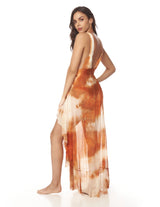 Cloud Dress Dusk Brick Salmon. Hand-Dyed Dress With Hand Woven Macramé In Dusk Brick Salmon. Entreaguas