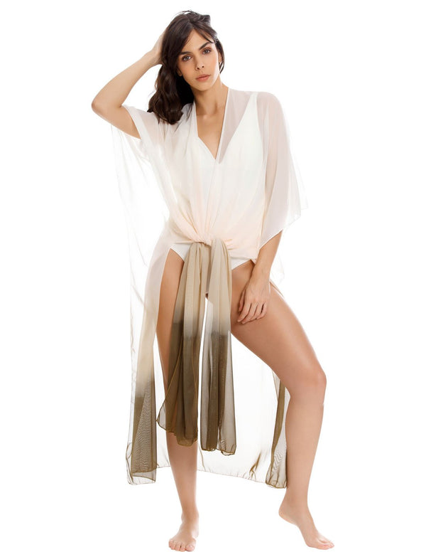 Flowy Ivory & Faded Greenstone Kimono. Hand-Dyed Plunge Beach Kimono In Ivory+Faded Greenstone. Entreaguas
