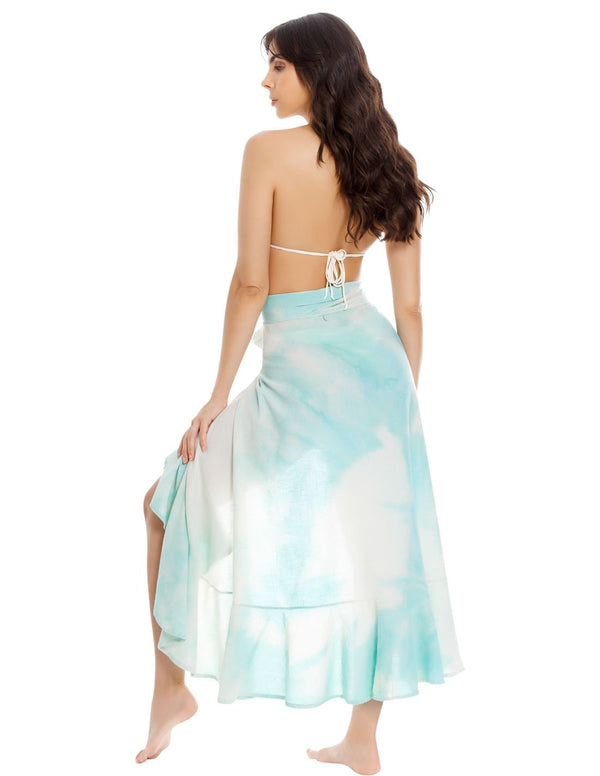 Earth Skirt. Hand-Dyed Beach Skirt In Spotted Mint. Entreaguas