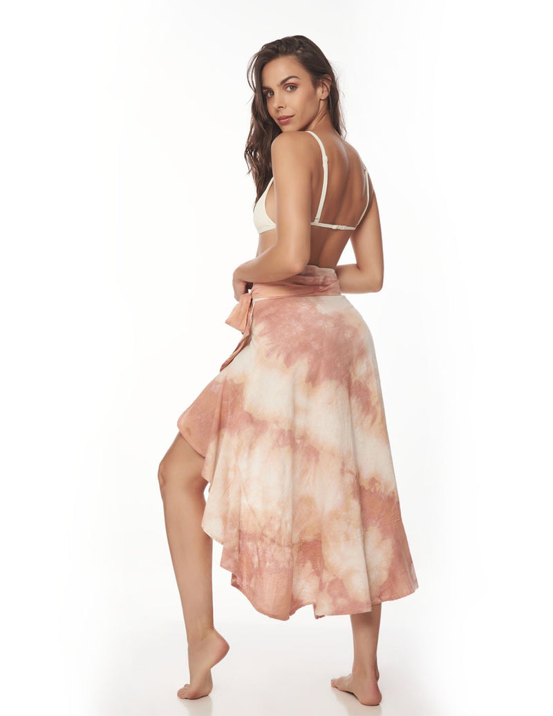 Wave Skirt Blush Storm. Hand-Dyed Beach Skirt In Blush Storm. Entreaguas