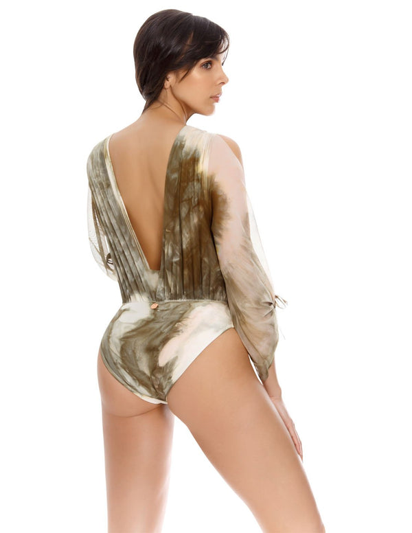 Cymbidium Spotted Greenstone Body. Plunge Body Cover-Up In Spotted Greenstone. Entreaguas