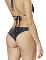Lions Mane Bottom. Tie Side Bikini Bottom With Hand Woven Macramé In Black. Entreaguas