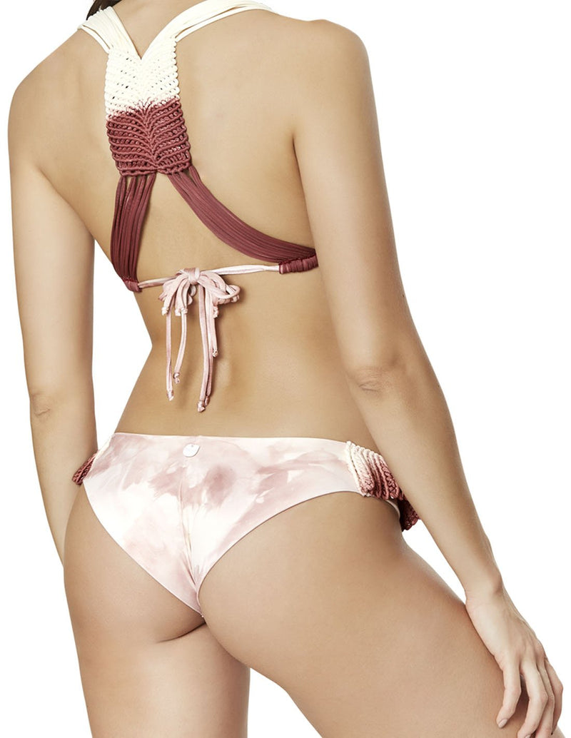 hand dyed cheeky bikini bottom with macrame in spotted coral blush octopus