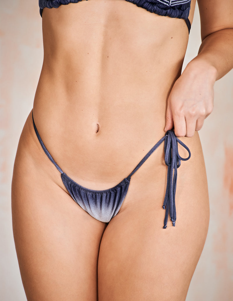 Orbit Bottom Gray Storm. Hand-Dyed Low Rise Bikini Bottom In Gray Storm. Entreaguas
