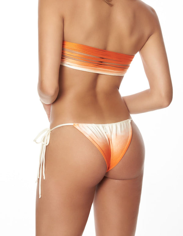 Jungle Bottom Orange Sunset. Hand-Dyed Bikini Bottom In Orange Sunset. Entreaguas
