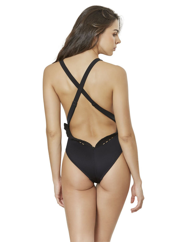 Brain Fungus One Piece. Plunge One Piece Swimsuit With Hand Woven Macramé In Black. Entreaguas