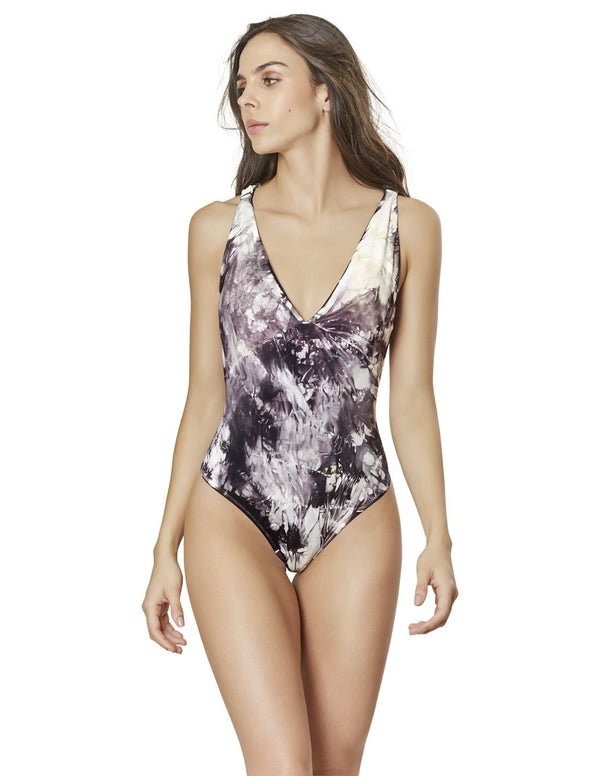 hand dyed v neck one piece swimsuit with macrame in spotted gray+leaves entoloma