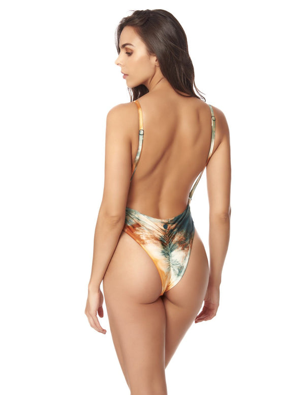 Tiki One Piece Dusk Fall Sky. Hand-Dyed Thong One Piece Swimsuit In Dusk Fall Sky. Entreaguas