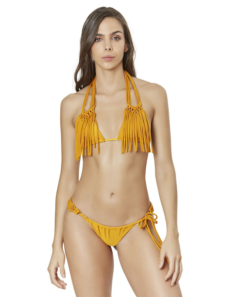 two piece bikini set with macrame in mustard lions mane est011916 esb011916 1