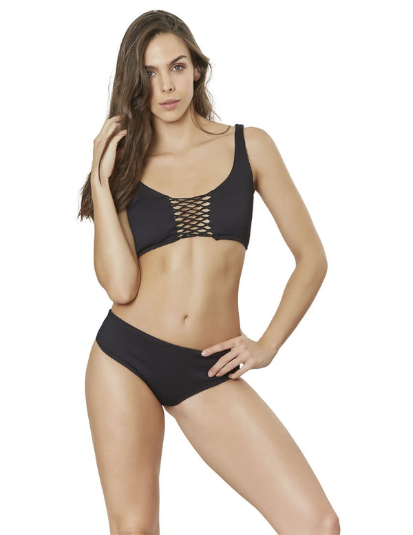 Portobelo Two Piece. Hand-Dyed Two Piece Bikini Set With Hand Woven Macramé In Black. Entreaguas