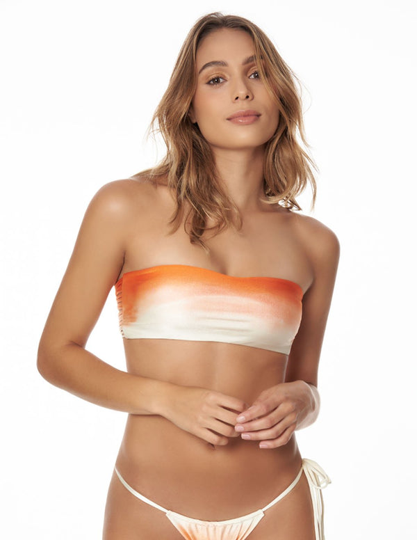 Mountain Top Orange Sunset. Hand-Dyed Bikini Top In Orange Sunset. Entreaguas
