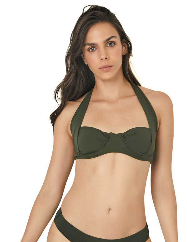 Top Army Green. Bikini Top In Army Green. Entreaguas