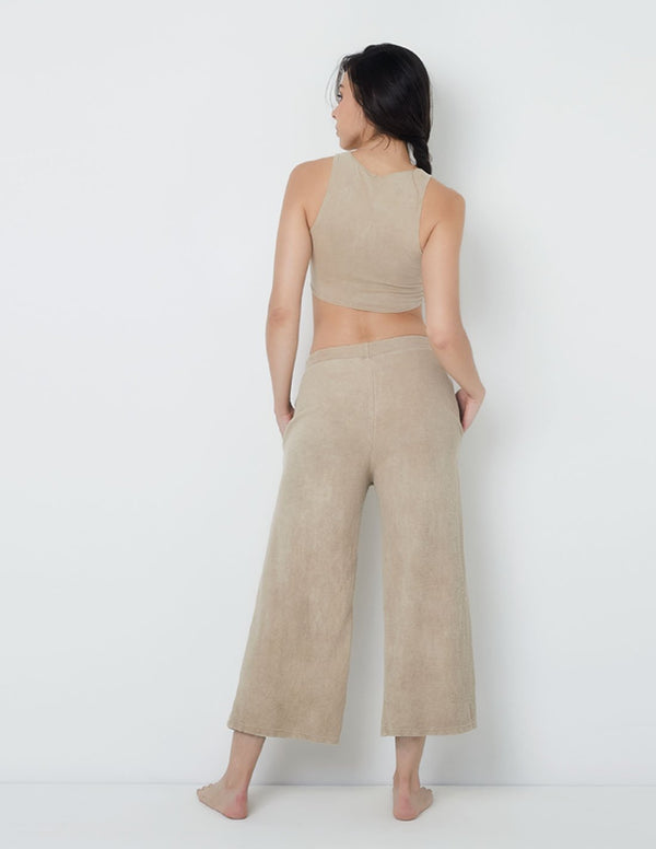 Cocora Wide-Leg Pants Potter Clay. Hand-Dyed Wide-Leg Pants In Potter Clay. Entreaguas