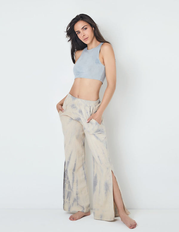 Gorgona Wide-Leg Pants Cabbage. Hand-Dyed Wide-Leg Pants In Cabbage. Entreaguas