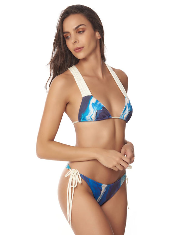 Mane & Mane Two Piece Blue Sky. Two Piece Bikini Set With Hand Woven Macramé In Blue Sky. Entreaguas