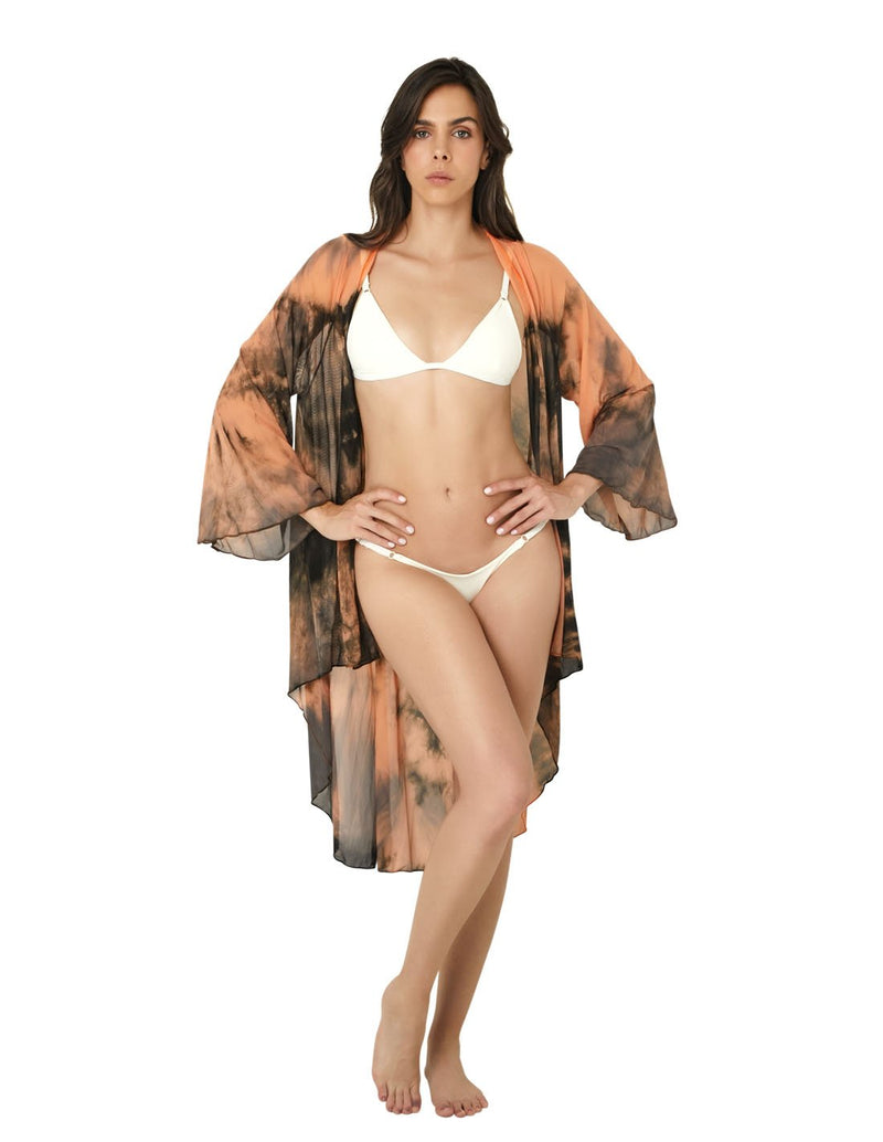 Kaftan Peach Gray. Beach Kaftan In Peach+Gray Hand Dyed. Entreaguas