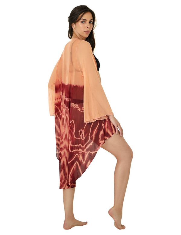 Kaftan Peach Burgundy. Beach Kaftan In Burgundy+Peach Hand Dyed. Entreaguas