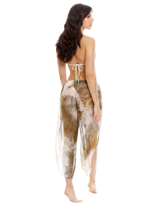 Wind 1 Spotted Greenstone Pant. Hand-Dyed Beach Pant In Spotted Greenstone. Entreaguas