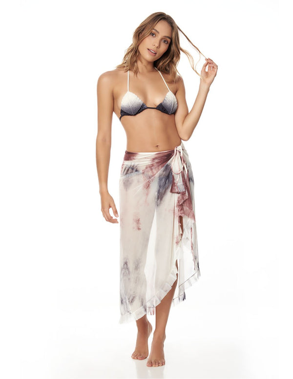 Calm Beach Wrap Storm. Hand-Dyed Beach Wrap Cover-Up In Storm. Entreaguas
