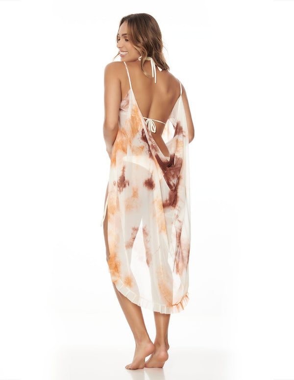 Calm Beach Wrap Clay Sunset. Hand-Dyed Beach Wrap Cover-Up In Clay Sunset. Entreaguas